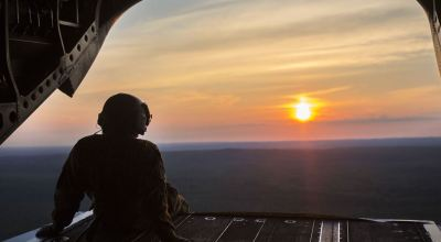 Picture of the day: Army Sgt. Michael Buchanan on the ramp of CH-47 Chinook Helicopter