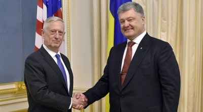Mattis reassures Ukraine of U.S. support against Russian aggression, but stops short of promising weapons