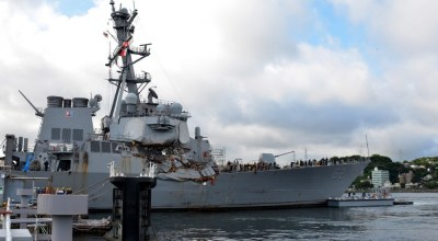 Top two officers and other sailors aboard the USS Fitzgerald to be disciplined following deadly collision at sea