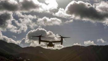 Marine Corps MV-22B Osprey approaches a landing zone in St. John, in the U.S. Virgin Islands