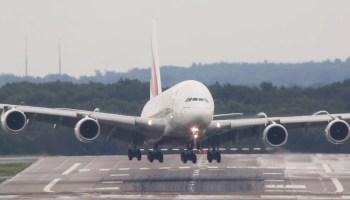 Watch: Wild crosswind landing! Airbus A380 in Düsseldorf, Germany