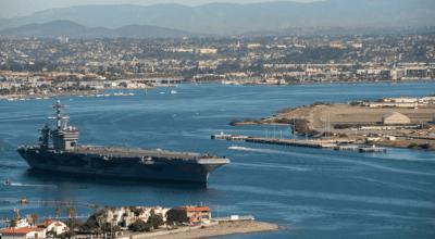 Watch: Man the rails! USS Theodore Roosevelt departs San Diego