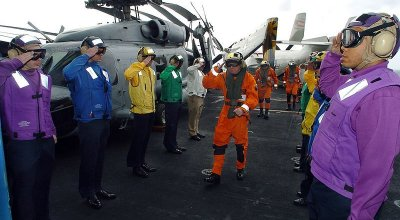 US Navy aircraft carrier deck personnel shirt colors explained