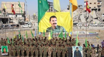 Banner in Raqqa unveiled by victorious SDF depicts controversial PKK leader