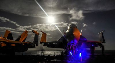 Picture of the Day: F/A-18F Super Hornet Moonlighting on the USS Theodore Roosevelt in the Pacific Ocean