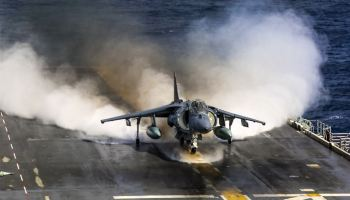 Marine Corps AV-8B Harrier with Marine Medium Tiltrotor Squadron 162, 26th Marine Expeditionary Unit, takes off