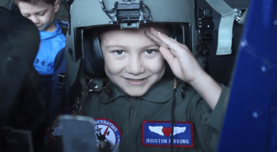 """Must Watch! Houston Pirrung and Jack Kirkbride Childhood Cancer Survivors Become """"Pilots for a Day"""""""