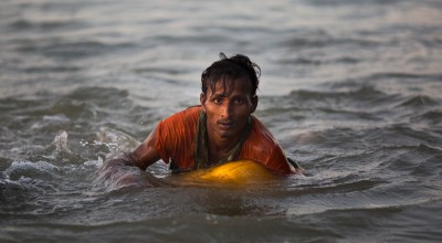 Watch: Rohingya civilians use empty gas cans as flotation devices to escape the Burmese Army