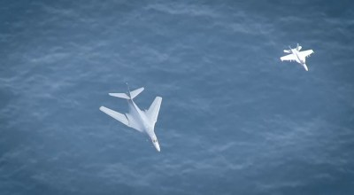 Watch: B-1B Lancer Bombers fly over 3 US carriers off the coast of North Korea