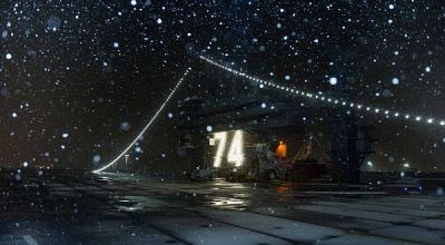 Picture of the Day: Christmas Eve Snow on the Flight Deck of the Aircraft Carrier USS John C. Stennis CVN 74