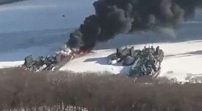 Watch: Russia claims this fire raging near their submarines was all part of a training exercise