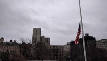 The flag at half-mast