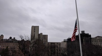 The flag at half-mast