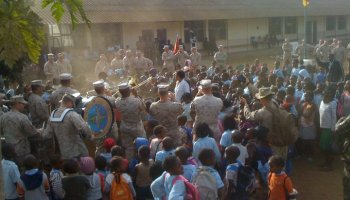 Watch: US Marines in Africa celebrate with students after helping to repair school