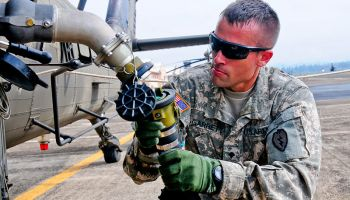 Refueling a UH-60 Black Hawk Helicopter Katterbach Army Airfield, Germany