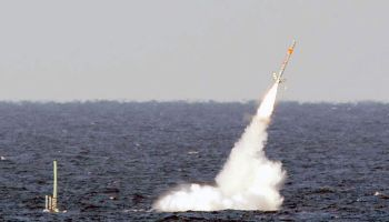 USS Florida launches a Tomahawk cruise missile during Giant Shadow in the waters off the coast of the Bahamas