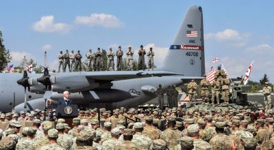 Picture of the Day: Balcony Seats – Vice President Mike Pence Delivers Remarks to the Troops