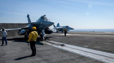 Picture of the Day: Rafale Marine of the French Navy Prepares to Launch from the USS George H.W. Bush