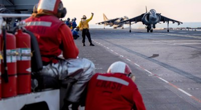 Picture of the Day: AV-8B Harrier Prepares to Take Off From the Assault Ship USS Kearsarge