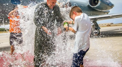 Picture of the Day: Marine Corps Lt. Col. Mark Angersbach Splashed with Water after Final Flight
