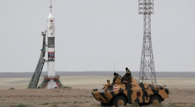 A police APC drives past the launch pad prior the launch of Soyuz MS-09 space ship with U.S. astronaut Serena Aunon-Chancellor, Russian cosmonaut Sergey Prokopyev and German astronaut Alexander Gerst, to the International Space Station (ISS) prior the launch at the Russian leased Baikonur cosmodrome, Kazakhstan, Wednesday, June 6, 2018. | AP Photo/Dmitri Lovetsky