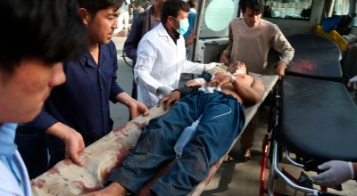 A man who was injured in a deadly suicide bombing that targeted a training class in a private building in the Shiite neighborhood of Dasht-i Barcha is placed in an ambulance in western Kabul, Afghanistan, Wednesday, Aug. 15, 2018. Both the resurgent Taliban and an Islamic State affiliate in Afghanistan have targeted Shiites in the past, considering them to be heretics. | AP Photo/Rahmat Gul