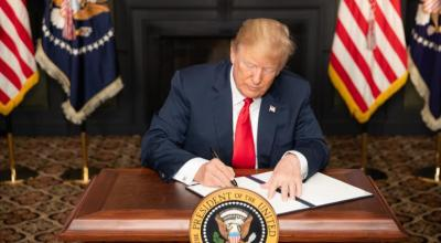 """President Donald J. Trump signs an Executive Order in Bedminster, New Jersey, entitled """"Reimposing Certain Sanctions with Respect to Iran."""" 