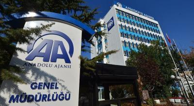 The Anadolu Agency logo in front of the company's headquarters | Anadolu Agency