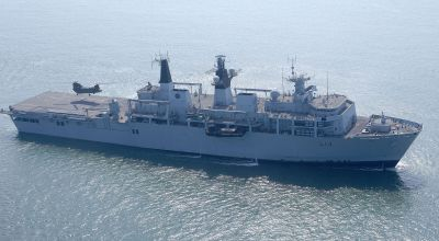 HMS Albion is pictured operating with Dutch Royal Marines. The Albion Class, Landing Platform Dock ships (LPD) primary function is to embark, transport, and deploy and recover (by air and sea) troops and their equipment, vehicles and miscellaneous cargo, forming part of an Amphibious Assault Force. (WikiMedia Commons)