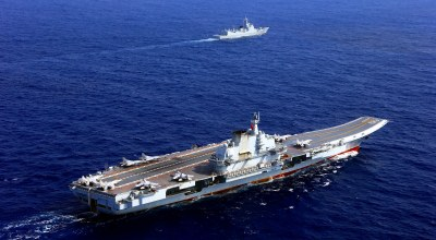 The aircraft carrier Liaoning (Hull 16) steams in the western Pacific. The aircraft carrier Liaoning (Hull 16), several guided-missile destroyers, frigates and dozens of aircraft attached to the Navy of the Chinese People's Liberation Army took part in a combat exercise at an unidentified area east of the Bashi Channel in the western Pacific on Apr. 20.