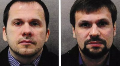 Photographs showing Alexander Petrov and Ruslan Borishov, two men accused of poisoning former spy Sergei Skripal. London Metropolitan Police