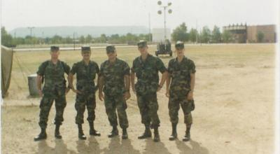 Captain Casillas, serving as his battalion NBC officer, on his way to Saudi Arabia to participate in Desert Shield/Storm. (Picture courtesy of Ron Casillas.)