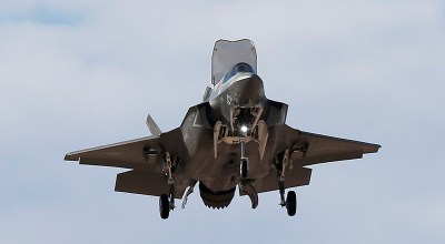 An F-35B fighter jet, the U.S. Marine Corps variant of the F-35 from the Marine Corps Air Station in Yuma, Ariz., flies into Luke Air Force Base Tuesday, Dec. 10, 2013, in Goodyear, Ariz. The new jet shows off its abilities at the request of senior defense officials from Singapore, who are visiting Luke AFB as part of Forging Sabre, a Singapore armed forces exercise taking place at Luke and at the Barry M. Goldwater training range. (AP Photo/Ross D. Franklin).