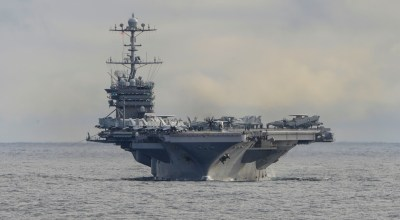 The Nimitz-class aircraft carrier USS Harry S. Truman (CVN 75) conducts flight operations in the Atlantic Ocean on Sept. 18, 2018. US Navy photo.