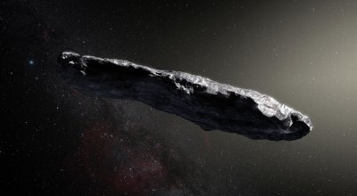 Artist's rendering of 'Oumuamua courtesy of WikiMedia Commons