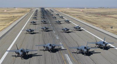 Watch: Massive formation of 35 F-35s taking off from Hill Air Force Base