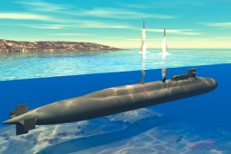 Artist's rendering of a submarine launched ballistic missile. (US Navy)