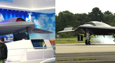 China's new drone (left) vs. the Northrop Grumman X-47B (right). Courtesy of Twitter and the U.S. Navy