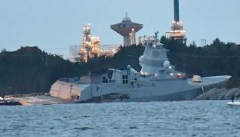 Norwegian frigate sunk in collision with oil tanker