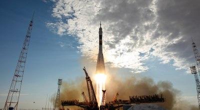 Soyuz launch courtesy of WikiMedia Commons