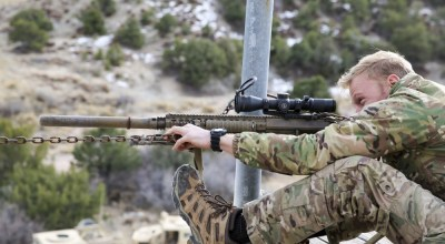 A Green Beret assigned to the 10th Special Forces Group (Airborne) aims his rifle during sniper training at Fort Carson, Colorado, Dec. 13, 2018. (U.S. Army photo by Spc. Anthony Torres)