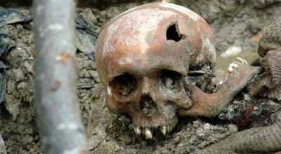 Skull of a victim of the July 1995 Srebrenica massacre. Exhumed mass grave outside the village of Potočari, just north of Srebrenica, Bosnia and Herzegovina. July 2007.
