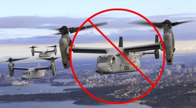 Marine Corps MV-22B Osprey tiltrotor aircraft fly in formation over the Pacific Ocean. (Photo by USMC Lance Cpl. Amy Phan. Edits made by Joseph LaFave)