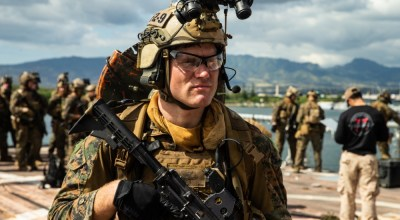 A Marine with the 31st Marine Expeditionary Unit's Maritime Raid Force posts security aboard a simulated non-compliant vessel during Visit, Board, Search and Seizure training at Marine Corps Base Hawaii, Kaneohe Bay, Hawaii, Jan. 14, 2019. (U.S. Marine Corps photo by Cpl. Isaac Cantrell)