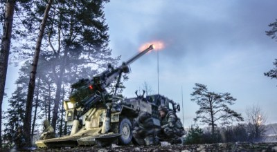 French soldiers fire their artillery gun March 7, 2019 at the Grafenwoehr Training Area during exercise Dynamic Front 19. Exercise Dynamic Front 19 includes approximately 3,200 service members from 27 nations who are observing or participating from Grafenwoehr Training Area, Germany; Riga, Latvia; and Torun, Poland; during March 2-9, 2019. Dynamic Front is an annual U.S. Army Europe exercise focused on the readiness and interoperability of U.S. Army, joint service, and allied and partner nations' artillery and fire support working together in a multinational environment. (U.S. Army photo by Sgt. Christopher Stewart).