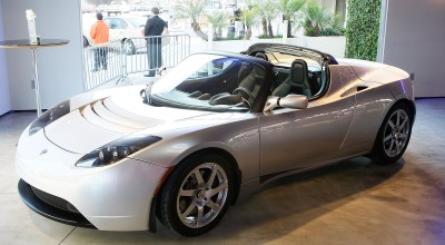 The Tesla Roadster, the world's first highway-capable all electric car available in the United States, is displayed on its production debut in the Tesla Flagship Store on May 1, 2008 in Los Angeles, California.  (Photo by Vince Bucci/Getty Images)