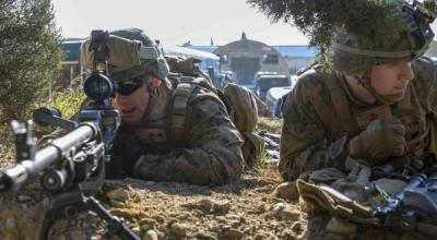 U.S. Marines assigned to Battalion Landing Team, 1st Battalion, 2nd Marine Regiment, 22nd Marine Expeditionary Unit, practice immediate action drills with a M240B machine gun during exercise Alexander the Great 2019 in Volos, Greece, Jan. 6. Exercise Alexander the Great 2019 is combined training exercise between U.S. and Hellenic armed forces. The exercise focuses on increasing interoperability, reassuring allied and partner nations, improving readiness, and strengthening relationships. (U.S. Marine Corps photo by Staff Sgt. Andrew Ochoa/Released)