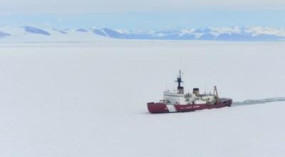 The Coast Guard Cutter Polar Star breaks ice in McMurdo Sound near Antarctica on Wednesday, January 10, 2018. (Courtesy of the U.S. Coast Guard)