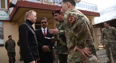 Acting Defense Secretary Patrick M. Shanahan meets with U.S. and Afghan officials, including Afghan Lt. Gen. Bismillah Waziri, second from right, commander of the Afghan National Army Special Operations Corps, at Camp Morehead, Afghanistan, Feb. 11, 2019. Lisa Ferdinando, DOD.