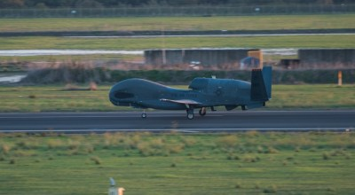 An RQ-4 Global Hawk speeds down the runway for takeoff Oct. 24, 2018, at Naval Air Station Sigonella, Italy. The RQ-4 Global Hawk is a high-altitude, long-endurance, remotely piloted aircraft with an integrated sensor suite that provides global all-weather, day or night intelligence, surveillance and reconnaissance. (U.S. Air Force photo by Staff Sgt. Ramon A. Adelan).